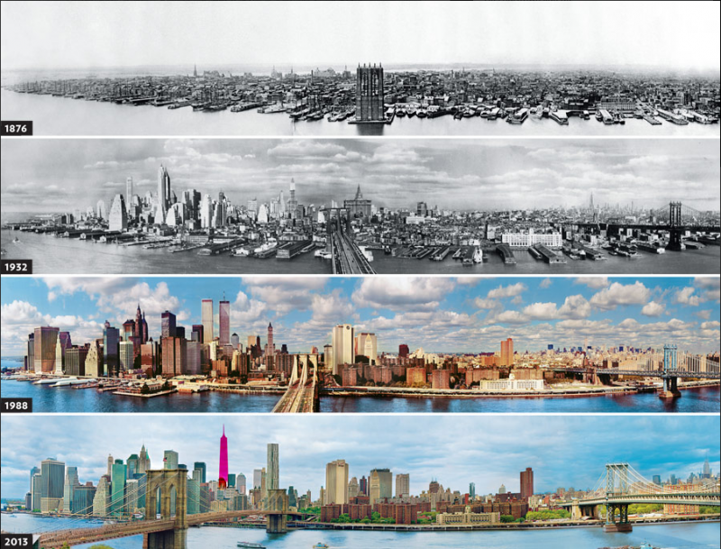 Before and after pics of famous cities changed over time. This is New York .