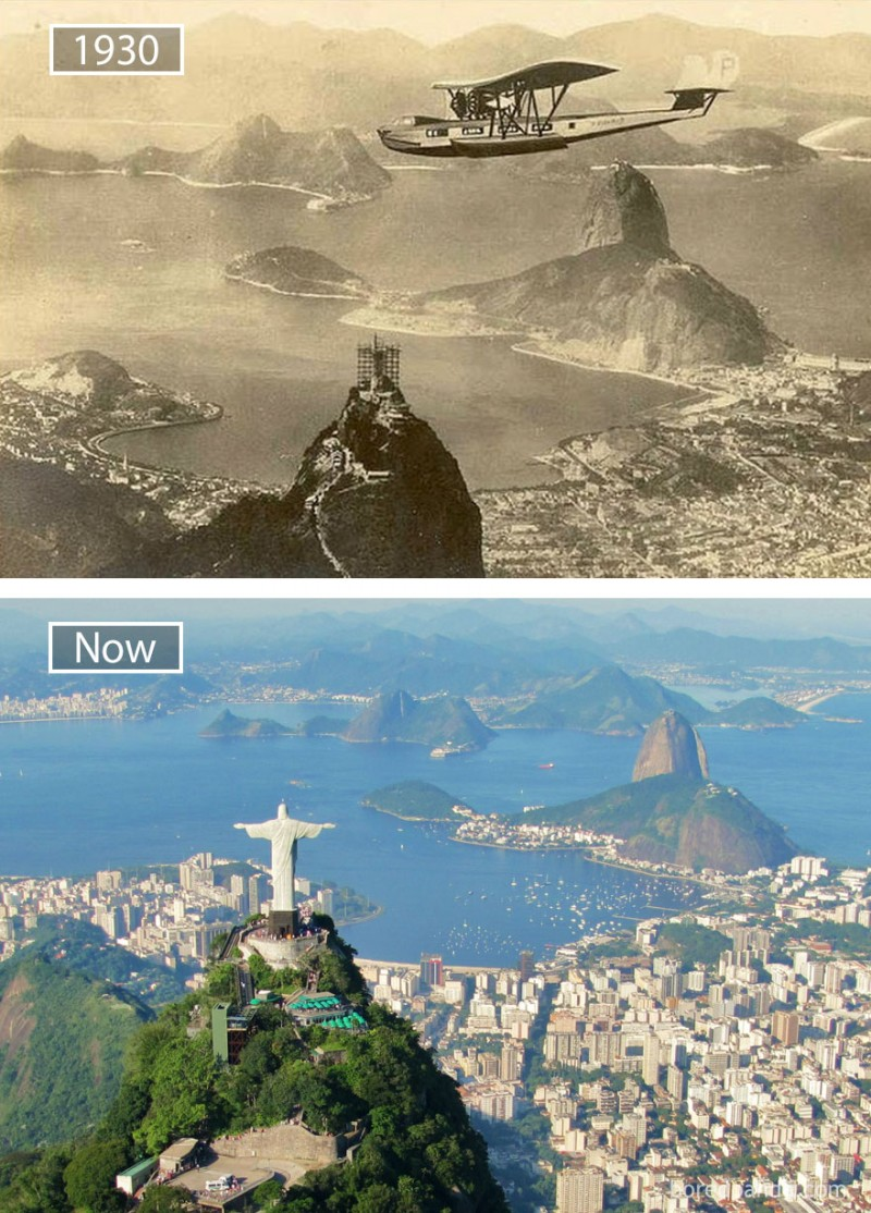 Before and after pics of famous cities changed over time. This is Rio de Janeiro.