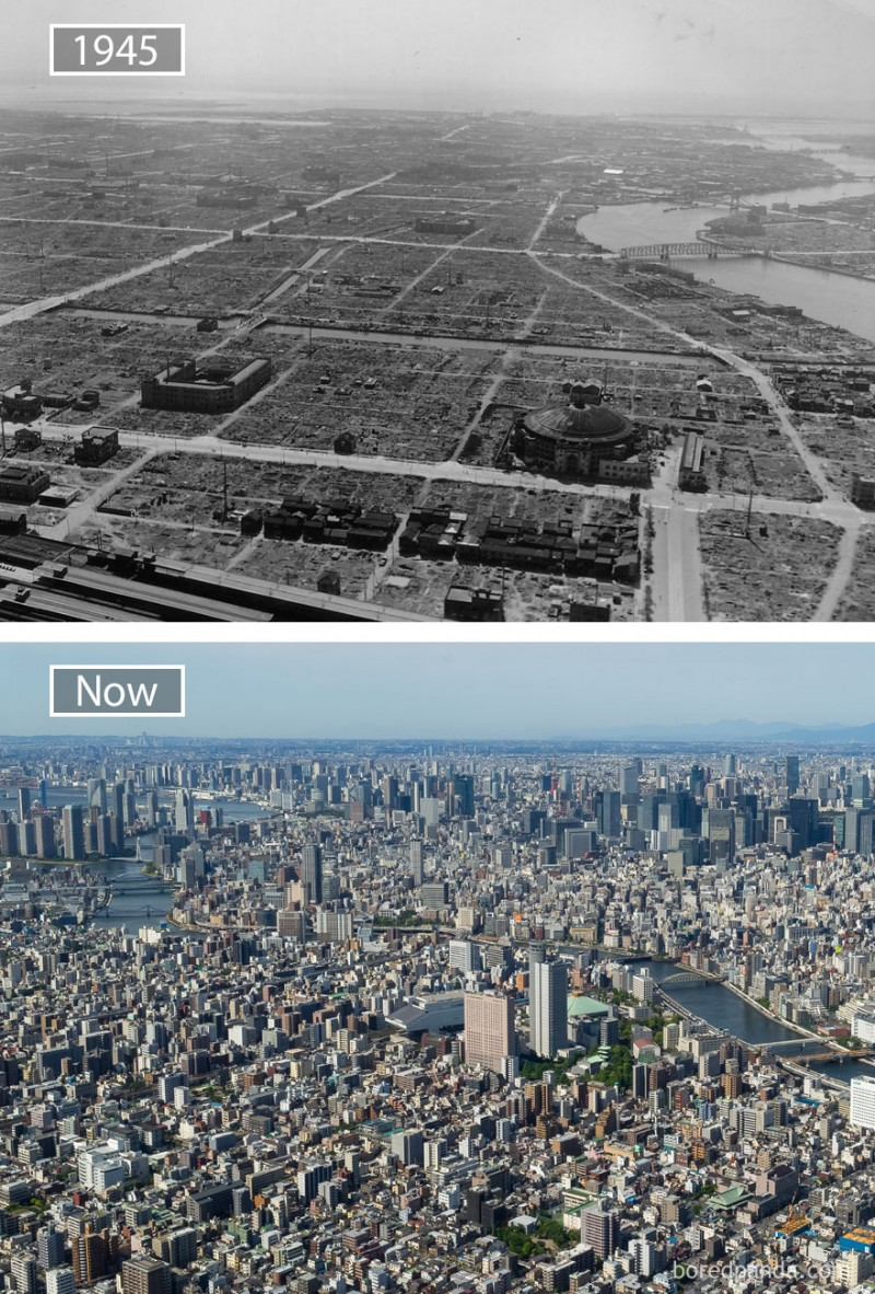 Before and after pics of famous cities changed over time. This is Tokyo.