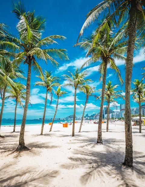 Copacabana beach has one of the most scenic views of Rio de Janeiro
