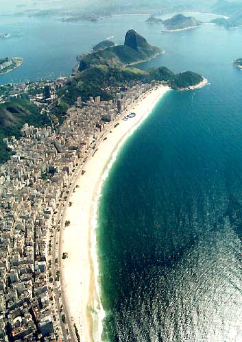 Copacabana beach has one of the most scenic views in Rio de Janeiro.
