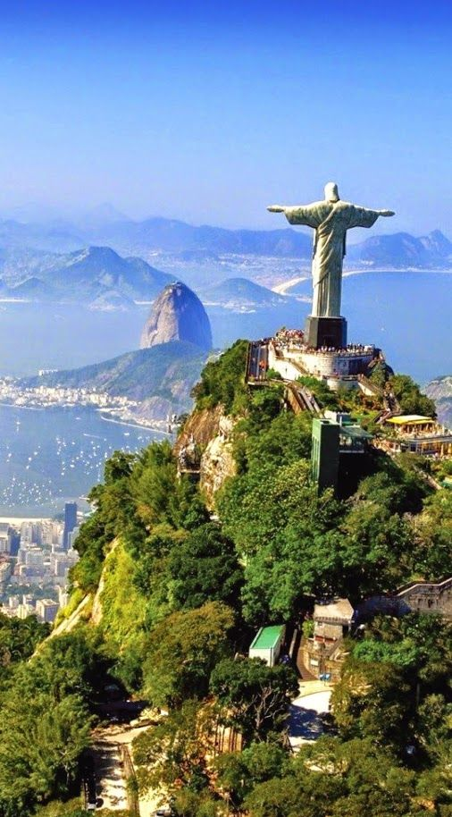 One of the most scenic views of Rio de Janeirois the view of The Christ the Redeemer statue on the Corcovado mountain.