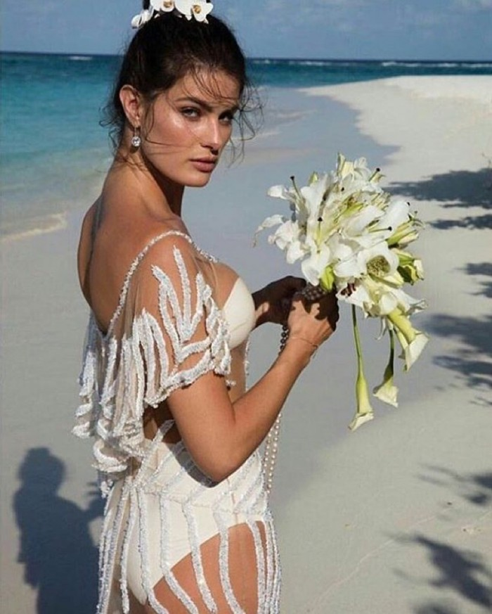 Isabeli Fontana in a bikini wedding dress looks absolutely stunning.