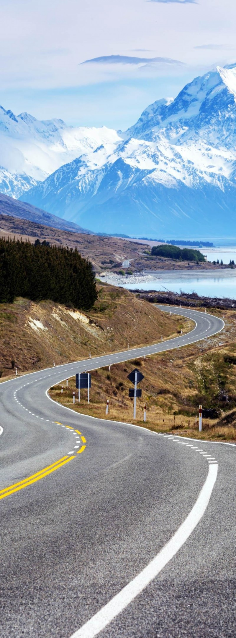 Cinematic Road to Mount Cook in New Zealand is one of the roads you need to drive in your lifetime.