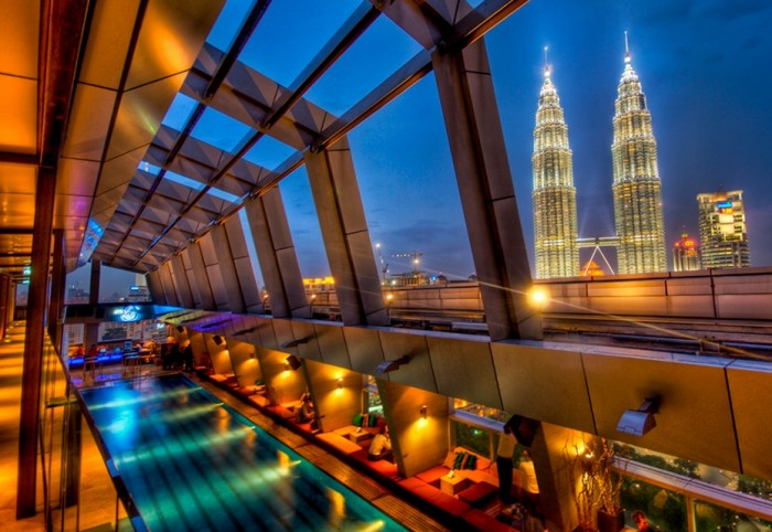 One the world's best hotels with rooftop pools is Skybar hotel in Kuala Lumpur.
