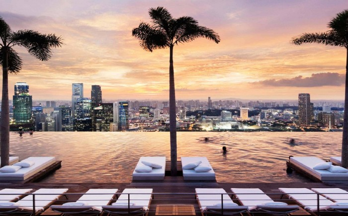 Marina Bay Sands in Singapore is chosen among the top 20 hotels with rooftop pools.