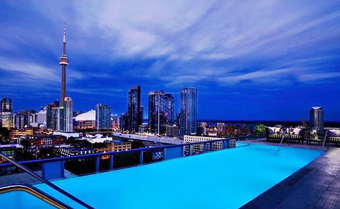 Thompson hotel in Toronto is chosen among the top 20 hotels with rooftop pools.