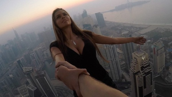 Watch the shocking video of a Russian model performing the craziest stunt ever.