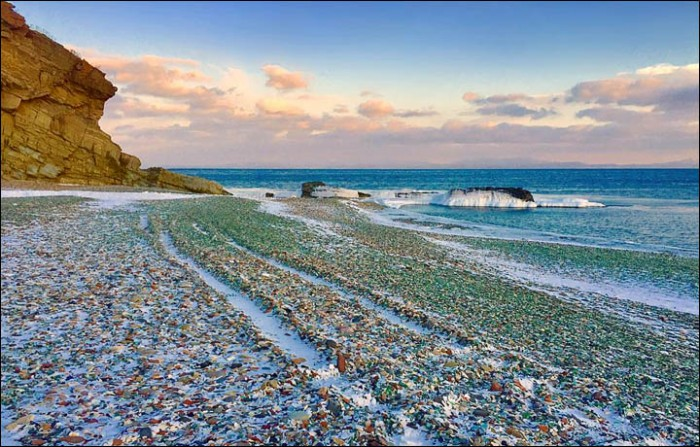 Glass Beach is especially beautiful in winter when the snow highlights the vivid colors of the glass.