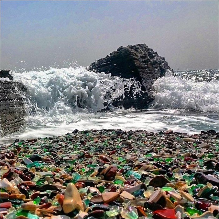 The Glass Beach in Ussuri Bay is one of the most popular