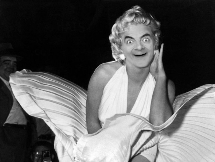 These hilarious photoshopped pictures of Mr. Bean will make your day. Here is Mr. Bean as Marilyn Monroe.