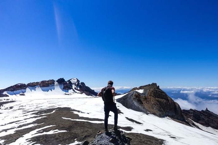 On his trip around New Zealand he had a chance to hike the highest volcano in the country.