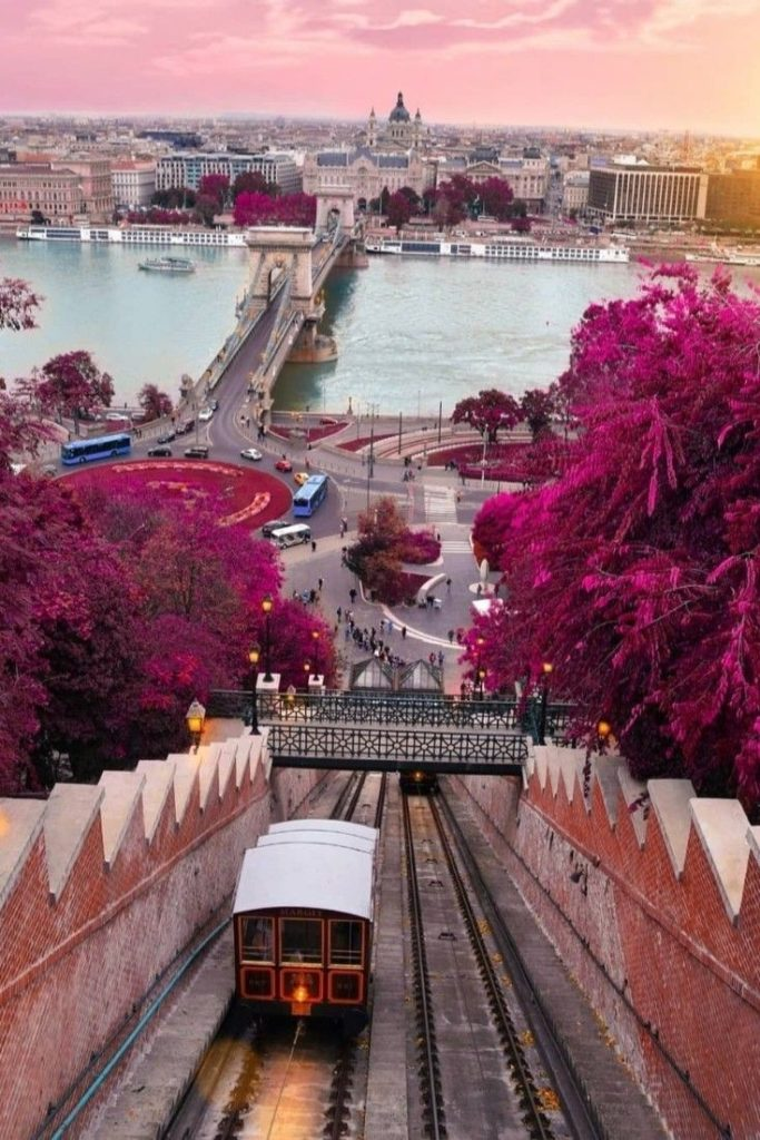 Breathtaking view of the Chain Bridge from the Gellert Hill in Budapest.