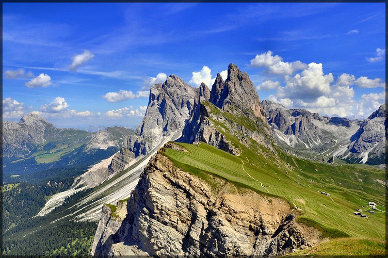Amazing drone footage of the Alps. This is Seceda mountain in the Dolomites.