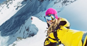 Freestyle skiing by Lynsey Dyer in the Andes Mountains
