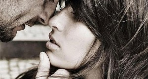 The picture presents couple kissing, passion, love, star sign scorpio