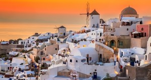 Santorini in Greece is the one of the best spots to watch spectacular sunsets.