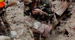 A baby is rescued from Nepal earthquake.