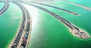the palm islands in Dubai, men-made construction