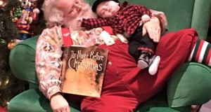 Waiting to meet Santa can be a tiring experience for little babies.