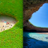 Hidden beach in Mexico, tucked below the surface of the island, provides a safe haven for romance.